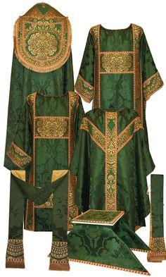 Roman Catholic - Ordinary Time vestment set: cope, dalmatic, chasuble, stole, burse, chalice veil, and maniple
