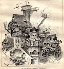 """La Vie Électrique"" by Albert Robida, 1890 Wells, Illustrations, Illustration Art, Albert Robida, Steampunk Background, Town Drawing, Retro Futuristic, Lowbrow Art, Art Moderne"