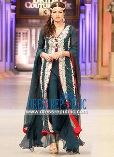 Blue Willow Pakistani Party wear Haute Couture Dress from PBCW 2013