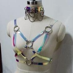 100% Handmade Holographic Choker Harness