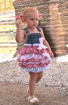 denim overall country dress birthday flower by VintageBabyLace, $65.00