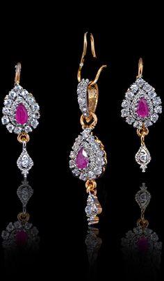 #PendantSets - Stone Studded Pendant Set With Gemstone Work Costs Rs. 545. #Jewellery BUY it here: http://www.artisangilt.com/imitation-jewellery-fashion-jewelry/pendant-sets/stone-studded-pendant-set-with-gemstone-work-80827.html?ref=pin