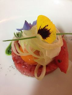 Beef tartar with marinated yolk, celery and green oil. Toscana. Food by Chef  @Silvia Baracchi  at the #Ilfalconiere