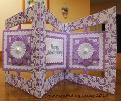 An anniversary card made with Crafter's Companion's square accordion die set. More details can be found at http://stampingbubbles.blogspot.co.uk/2015/09/anniversary-wishes.html