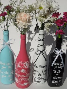 Trying this :)   Pink Vase Hand Painted Wine Bottle by JosettiesMemoryBox on Etsy, $12.00