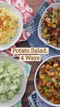 Easy Potato Salad, Good Food, Yummy Food, Cooking Recipes, Healthy Recipes, Soup And Salad, Diy Food, Potato Recipes, Food Videos