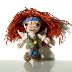 Crochet Zarina from Tinker Bell and The Pirate Fairy with the stolen blue fairy dust around her neck.   She is based on the Halfling Fantasy Amigurumi Pattern by Lucy Ravenscar.