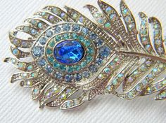 Rhinestone Peacock Feather Hair Clip
