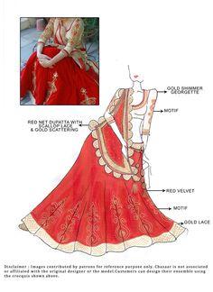 DIY Red Velvet Lehenga Choli