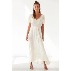 Kimchi Blue Wind Chime Flutter-Sleeve Cream Maxi Dress (€115) ❤ liked on Polyvore featuring dresses, cream, flutter sleeve maxi dress, deep v neck maxi dress, cream maxi dress, white dress and long white dress