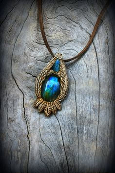 Mystic gemstone clay pendant Labradorite cabochon by PeaceElements