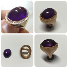 amethyst stone rose gold dimond ring