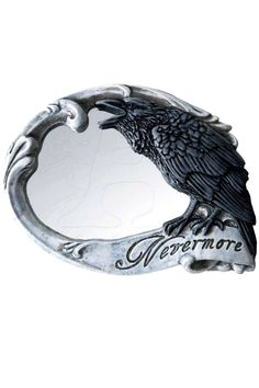 Using Poe's 'The Raven' as its motif, this compact mirror incorporates the mocking raven and the immortal word 'Nevermore' on the front, whilst the back magically transforms into a skull with black rose design.