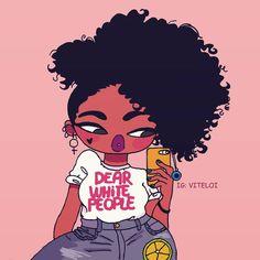 ideas for black art cartoon draw Black Girl Cartoon, Black Girl Art, Black Women Art, Art Girl, Cartoon Drawings, Cartoon Art, Drawings Of Black Girls, Tumbrl Girls, Natural Hair Art