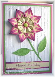 The flower on this card is made with a medallion using the Fanfare Diamond Fold designed by Carolyninoz . Paper Cards, Diy Cards, Flower Cards, Paper Flowers, Paper Folding Crafts, Iris Folding Pattern, Origami Cards, Tea Bag Art, Coffee Cards