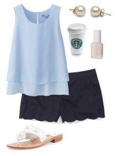 """""""Summer preppy outfit"""" by meganbriody ❤ liked on Polyvore featuring Club Monaco, Uniqlo, Jack Rogers and Essie"""