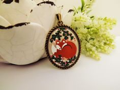 Sleepy Fox Necklace. Lovely Vintage Hand Painted Cameo Pendant Necklace Polymer Clay Jewelry Nickel Free Antique Bronze by RaindropsintheSky on Etsy