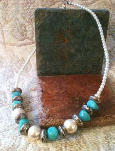 50 OFFChunky Turquoise and Pearl by GrecoGirlJewelry on Etsy, $15.00