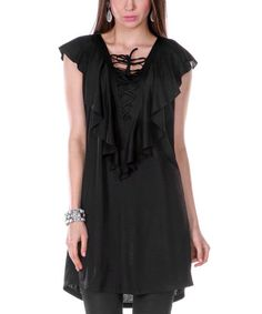 Look what I found on #zulily! Black Lace-Up Angel-Sleeve Dress by Jasmine #zulilyfinds
