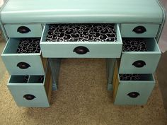 Cute desk redo, looks exactly like the desk I found for my sewing table. Will have to line the drawers with wallpaper/wrapping paper like this! Desk Redo, Desk Makeover, Furniture Makeover, Dresser Desk, Hobby Lobby Furniture, Furniture Projects, Diy Furniture, Furniture Refinishing, Diy Projects