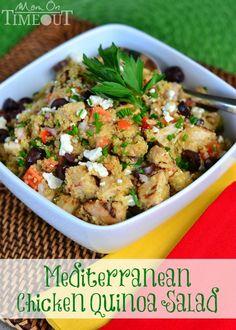 Mediterranean Chicken Quinoa Salad | MomOnTimeout.com A healthy, delicious meal in under 30 minutes!