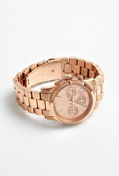 Michael Kors Watches Rose Gold Chronograph Watch With Rose Gold Dial @ mywardrobe.com £ 199