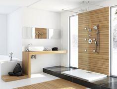 Badezimmer-Bilder-Inspirationen-Holz-Waschtisch-begehbare-Dusche-Regendusche