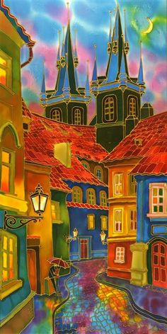 "Original art for sale at UGallery.com | Evening Prague by Yelena Sidorova | $975 | mixed media artwork | 36"" h x 18"" w 