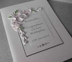 Quilled wedding congratulations card, personalised, handmade, quilled, paper quilling, special