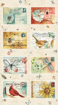Postcard Garden Fabric line by Red Rooster
