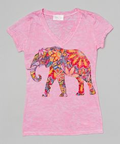 Love this Pink Elephant V-Neck Tee - Girls by Gi Gi Girl on #zulily! #zulilyfinds