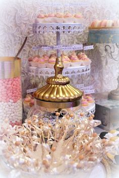 The Perfect Table Cape Cod - Pink-White-Gold Candy & Dessert Buffet - Amour
