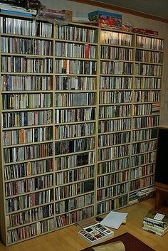 Have a huge wall display of our dvds and cds - One day my cd collection WILL be this big ;)