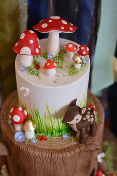 Baby Shower Cake Woodland Baby Shower via Kara's Party Ideas Woodland Fairy Cake, Woodland Party, Fairy Birthday Cake, Girl 2nd Birthday, Enchanted Forest Party, Gateaux Cake, Girl Cakes, Cute Cakes, Celebration Cakes