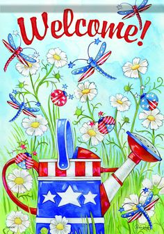 Carson Home Accents FlagTrends Classic Large Flag, Patriotic Bugs and Watering Can Welcome Quotes, Welcome Images, Mickey Mouse House, Peace Pole, Mailbox Covers, Yard Flags, Garden Decor Items, Side Garden, Flag Decor