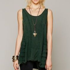 Free People Ruffled Up Cami Free People Ruffled Up Cami layering slip in deep Forest Green color. Pre-owned and in great condition with no tears or stains. Free People Tops Tank Tops
