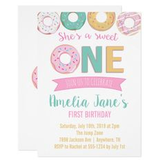 Shop Donuts Sweet One First Birthday Invitation created by FavoriteThingsDesign. First Birthday Party Themes, Donut Birthday Parties, One Year Birthday, February Birthday, Baby Girl 1st Birthday, First Birthday Photos, First Birthday Invitations, Party Invitations, Birthday Ideas