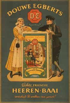Poster by Anonymous - Douwe Egberts Heeren-Baai Pub Vintage, Vintage Coffee, Vintage Labels, Vintage Ephemera, Vintage Signs, Vintage Advertising Posters, Old Advertisements, Vintage Posters, Old Illustrations