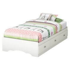 South Shore Glitter Mates Kids Bed - White (twin)