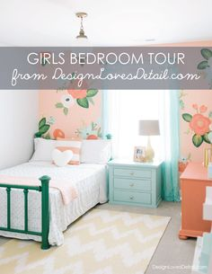 Cutest girls room! Love the floral wall & mixed paterns + funky fun colors. Click here to see the full room tour by DesignLovesDetail.com!