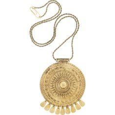 Aurélie Bidermann Pachacamac 18-karat gold-plated medallion necklace ($870) ❤ liked on Polyvore
