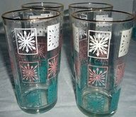 Vintage Hazel Ware 11 Oz. Glasses Pink, Aqua, and White Atomic Pattern Set of 8 In Org. Box