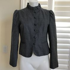 Vintage gentleman's lady Gray Jacket Pinstripe, Ruffle Collar Size 9 | Clothing, Shoes & Accessories, Women's Clothing, Coats & Jackets | eBay!