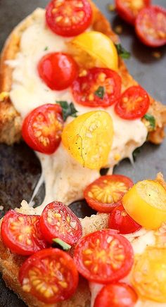 warm tomato and mozzarella bruschetta...