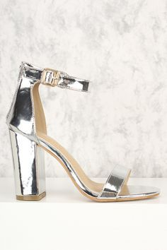 4e96dc79540c Silver Open Toe Chunky High Heels Patent Faux Leather