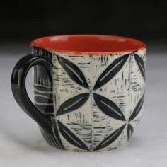 Orange peel mug; Sgraffito, Orange Peel, Pottery, Dishes, Mugs, Tableware, Cherry, Ceramica, Dinnerware