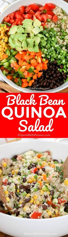 This easy Black Bean Quinoa Salad is deliciously simple, full of fresh veggies all tossed in a zesty lime dressing, this is the perfect easy lunch or dinner. #quinoa #quinoasalad #healthysalad #sidedish #healthyrecipe #blackbeansalad #cowboycaviar