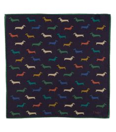 Navy Dachshund Printed Cotton Blend Pocket Square - Pocket Squares #animalprint