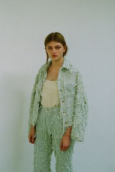 Denim-esque made from hand woven MOHAIR //  Faustine Steinmetz