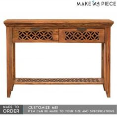 Hand Carved Sheesham wood Hall Side Table Console Table Brown 1.1m